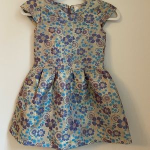 Peek Brocade Gold and Blue Floral Dress